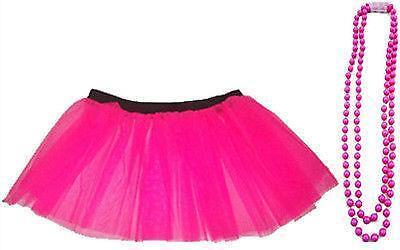 Fluo rose tutu jupe jambières gants résille tête bracelets hen party 8-26 uk
