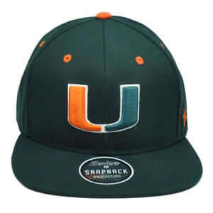 NCAA-Zephyr-Miami-Hurricanes-Canne-Verde-Snapback-Piatto-Bill-Cappello-Um-Sports