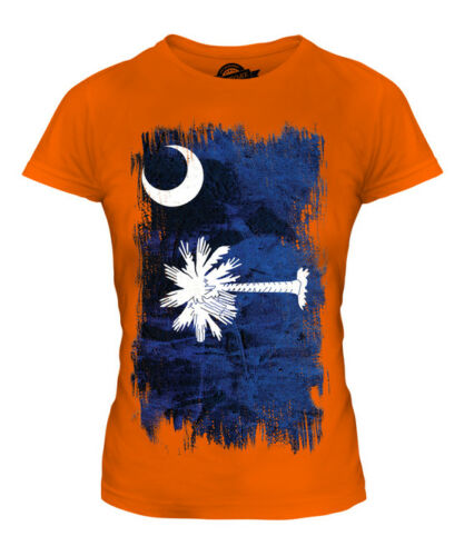 South Carolina State Grunge Bandiera Donna T-Shirt Tee Top Camicia SUD Carolinian