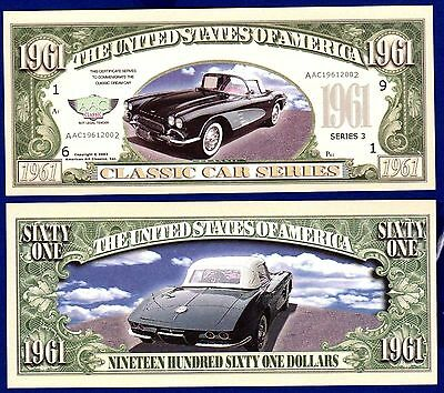 Chevy Corvette Million Dollar Bill Fake Funny Money Novelty Note FREE SLEEVE