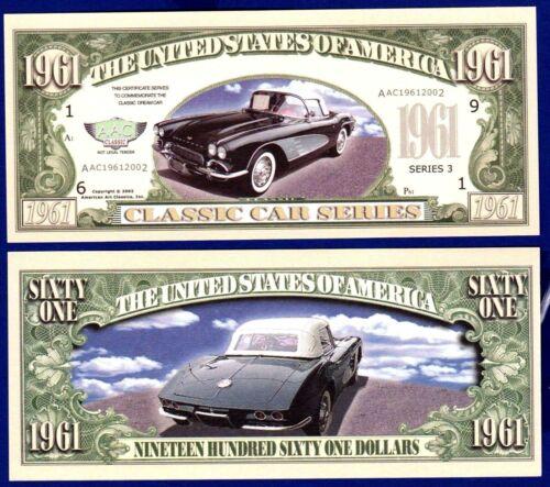 "Classic Car Money 10-1961 Chevy Corvette/"" Dollar Bills-Novelty Collectible v"