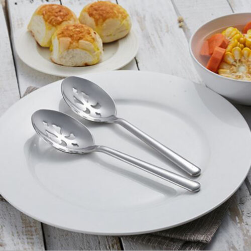 Durable Stainless Steel Cooking Utensil Kit Home Ladle Slotted Salad Spoon New