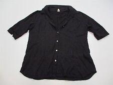 IBEX T4875 Women's Size L Casual Merino Wool Knit Button Down Black Shirt