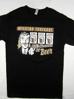 Weekend Beer forecast Meme funny tee shirt men's black Choose A Size