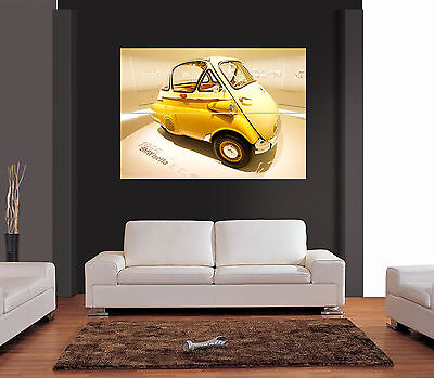 1955 BMW ISETTA YELLOW CAR Giant Colour Wall Art Print Picture Poster