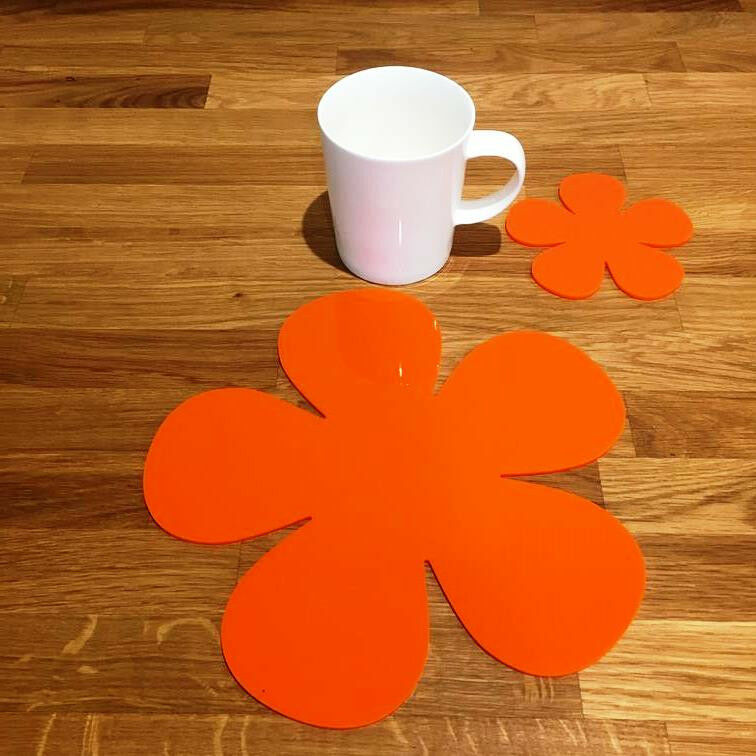 Daisy Shaped Placemat and Coaster Set - Orange
