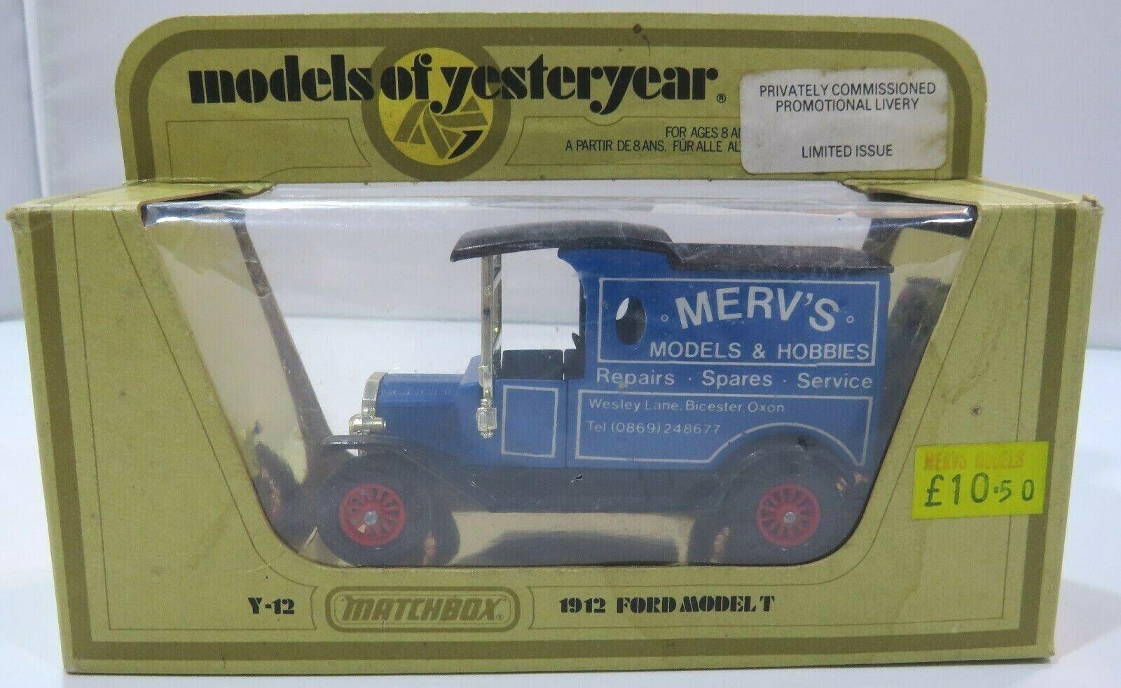 scatolaed Matchscatola modello s of Yesteryear Y-12 modello Ford T Merv's modellos