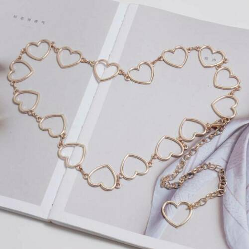 Accessories Skinny Chain Waistband Hearts Rings Belt Fashion Women Metal Belt SM