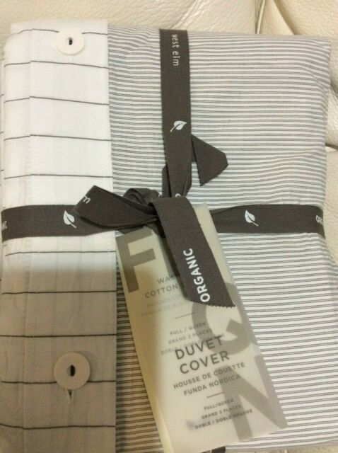 West Elm F Q Organic Washed Cotton Stripe Duvet Slate Gray White