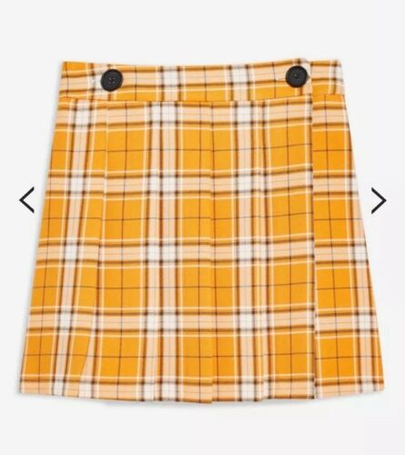 Topshop orange jaune carreaux tartan Bouton Clueless Wrap Mini Jupe Kilt 16-B54