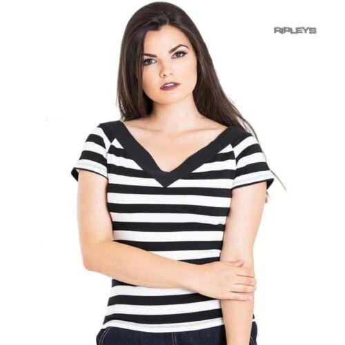 Hell Bunny Shirt 50s Rockabilly Shirt Top CAITLIN Stripe V Neck Black All Sizes