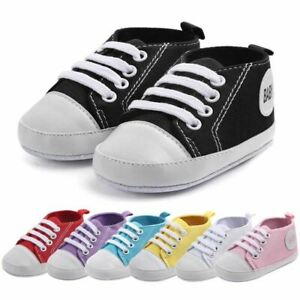 US Baby Boy Girl Anti-Slip Shoes Casual Canvas Sneakers Soft Soled First Walkers