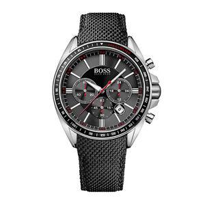 HUGO-BOSS-Uhr-1513087-Driver-Sport-Herren-Chronograph-Textil-Schwarz-Armbanduhr