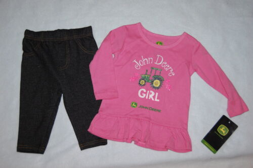 Baby Toddler Girls L//S Outfit JOHN DEERE GIRL Tractor PINK GLITTER  6 9 24 MO