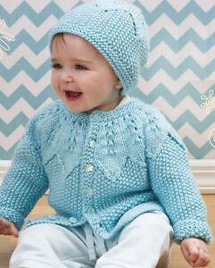 Knitting Pattern Baby Aran Jacket Hat Fits 3 18 Mths Circular