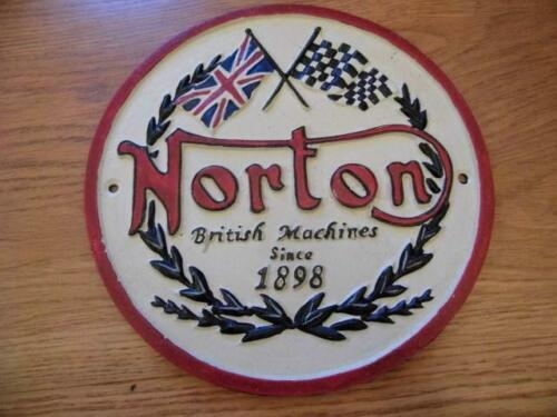 FABULOUS LARGE CAST IRON WALL PLAQUE ADVERTISING SIGN *NORTON BRITISH MACHINES*