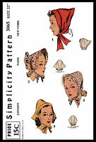 Millinery 3065 Simplicity Bonnet Hat Hood Fabric Sew Pattern Country Alopecia