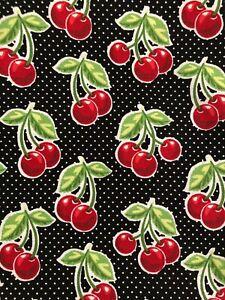 Cotton fabric black cherries
