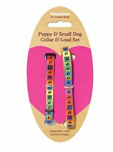 NEW-ROSEWOOD-NYLON-MULTICOLOURED-ADJUSTABLE-PUPPY-COLLAR-AND-LEAD-SET-41407