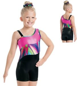 4c8321b3da0f Image is loading NEW-Pink-Black-Rainbow-Foil-Metallic-Gymnastics-Unitard-