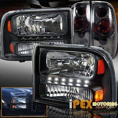 NEW 1999-2004 Ford F250/F350 Super-Duty LED Black Headlights + Smoke Tail Light