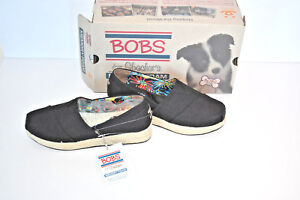 New-Bob-039-s-from-Skechers-High-Jinx-Espadrille-Wedge-Shoes-Black-NIB