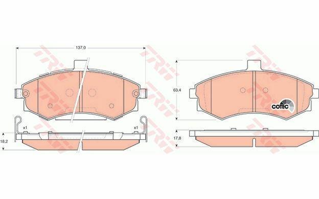 4x TRW Plaquettes de Frein Avant pour HYUNDAI MATRIX ELANTRA GDB3378