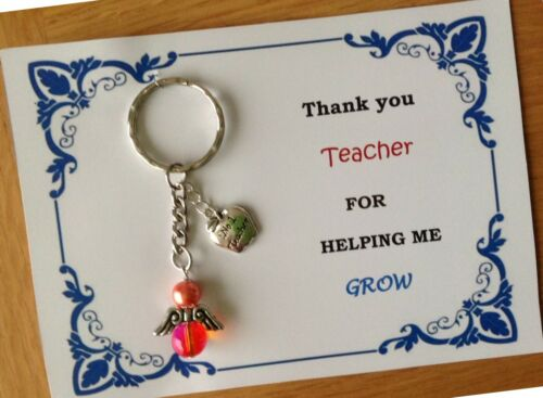 Personalised Thank you teacher keepsake angel keychain gifts keyring card set