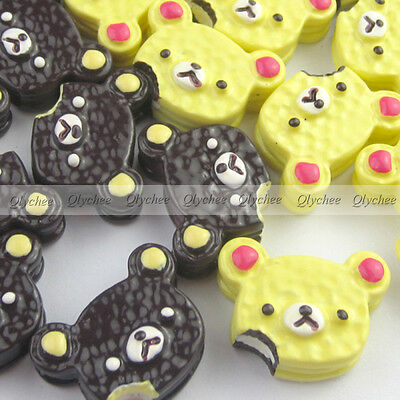 DIY New  Cabochons Crafts Flower Bear Cookies  Resin Flatback Scrapbooking Cute