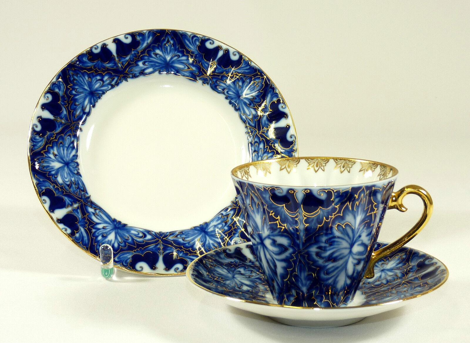 Lomonosov-Couvert Café couvert tasse à café-BONHEUR OISEAU-COBALT-BLEU OR
