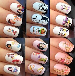 Image is loading NAIL-ART-STICKERS-WATER-TRANSFERS-DECALS-DISNEY-PRINCES-