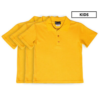 S. Cool Kids' School Polo 3-Pack - Yellow