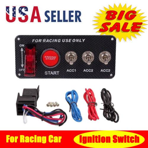 Carbon Fiber Racing Car Ignition Switch Engine Start Push Button Racing 12 Volt