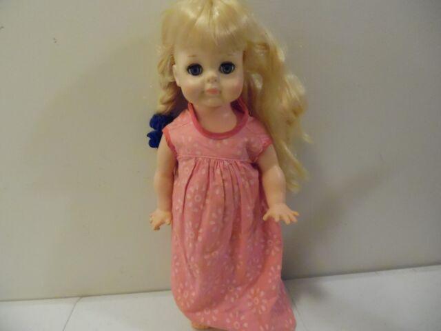 VINTAGE 1965 VOGUE LITTLEST ANGEL DOLL PINK DRESS LEMON BLONDE HAIR 14 INCHES