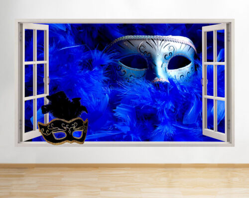 Wall Stickers Masquerade Ball Mask Feathers Window Decal 3D Art Vinyl Room F039