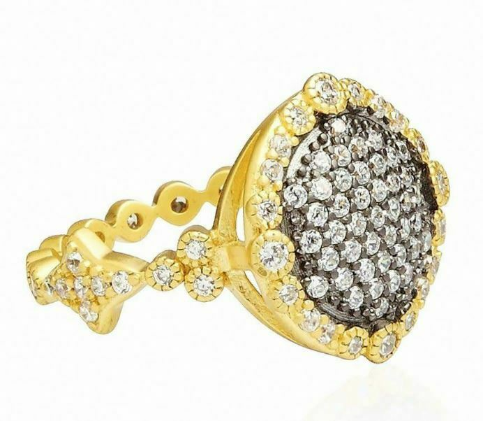 FREIDA redHMAN NEW PAVE DISC RING CZ'S gold RHODIUM PL STERLING RARE 5 BNWT  160
