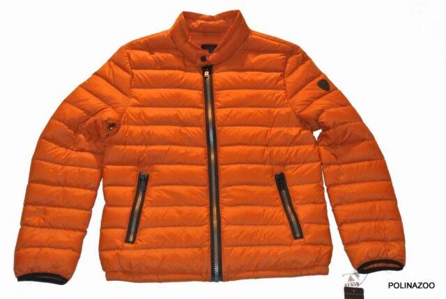 Guess men's down Orange Jacket Lightweight Puffer winter Coat 100% Authentic NEW