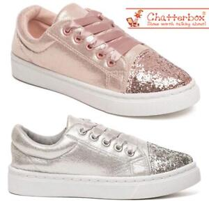 ba38f12cf4 Details about Girls Glitter Canvas Shoes Star Pumps Skate Style Plimsolls  Trainers Shoes Size