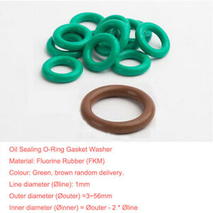 5pcs Oil Resistant FKM Viton Fluorine Rubber Sealing O-Ring OD 10-33mm CS 3.5mm
