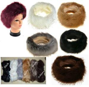 22a10d7e8b2 Image is loading Ladies-Faux-Fake-Fur-Hat-HeadBand-Winter-Earwarmer-