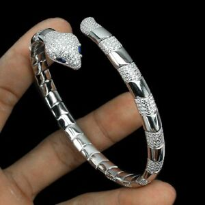 Blue White Cubic Zirconia 4x2mm 925 Sterling Silver Cobra Bangle 2.2x2.1 Inches