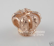 ROYAL CROWN 100% Authentic PANDORA Rose GOLD Plated Charm/Bead NEW