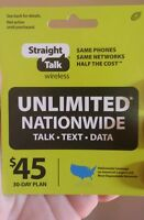 Straight Talk Rob Refill Card 30 Day $45 Prepaid Unlimited Service Top Up Fast