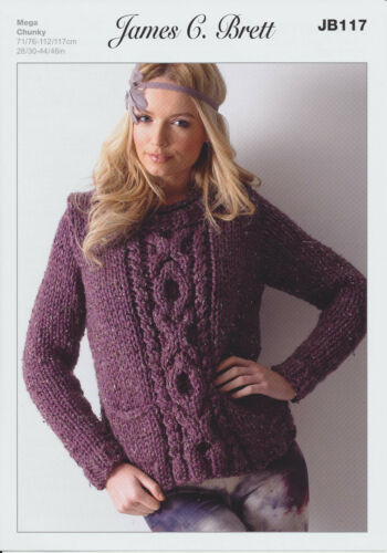 James Brett Mega Chunky Knitting Pattern Ladies Cable Knit Sweater Jumper JB117