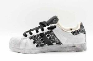 Dettagli su scarpe adidas superstar con glitter grigio piu' tessuto e borchie nere sporcata