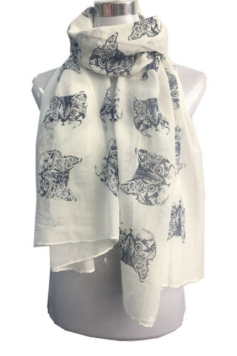 Women Lady Cat Face Animal Printing Soft Large Summer Spring Autumn Wrap Scarf
