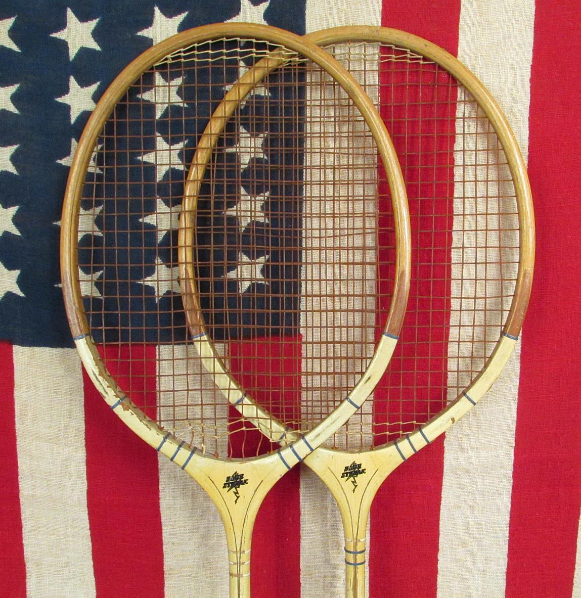 Vintage Pair FJ Bancroft Wood Badminton Racquets Racquets Badminton Blau Streak Model Antique Decor cc6245