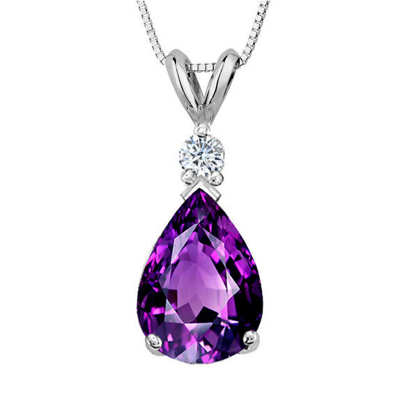 3.05 CT 14K Solid White gold Amethyst Pear Shape Basket Setting Pendant w  Chain