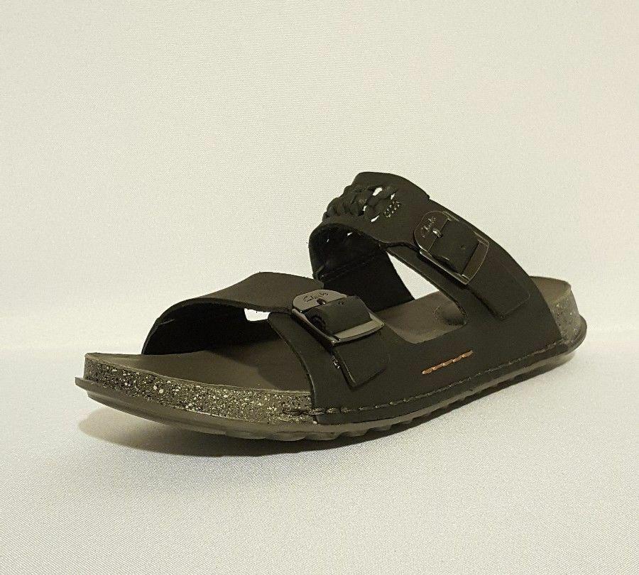 Clarks Men's Black Leather Slip On 2 Strap Footbed Slide Sandals shoes sz 9 G 43