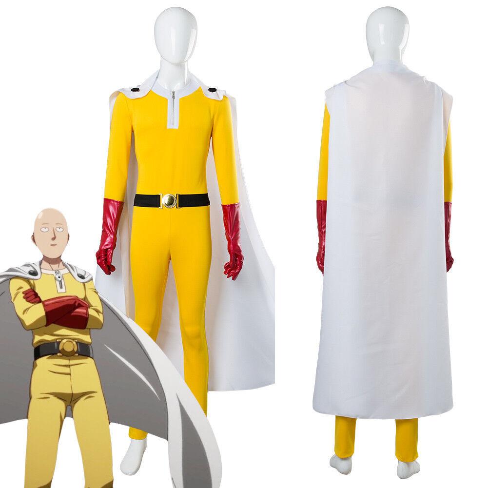 One Punch Man Hero Saitama Jumpsuit Costume Cosplay Full Set Outfit Uniform